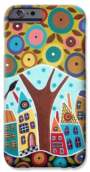 House Art iPhone Cases - Tree Eight Houses And A Bird iPhone Case by Karla Gerard