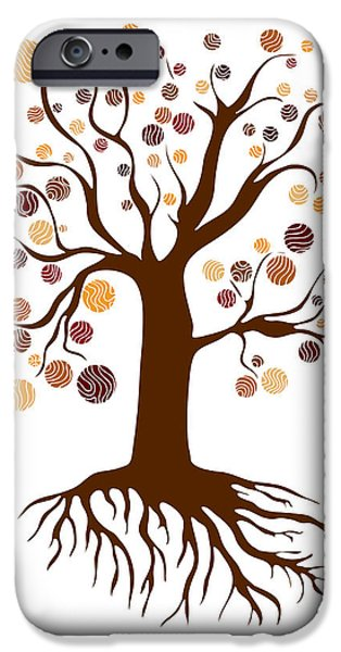 Autumn Drawings iPhone Cases - Tree iPhone Case by Frank Tschakert