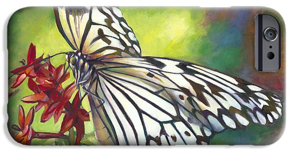 Blue And Red Paintings iPhone Cases - Tree Nymph Butterfly iPhone Case by Nancy Tilles