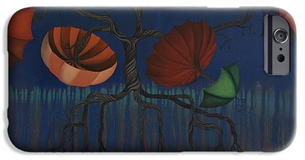 Drips Paintings iPhone Cases - Tree of Protection iPhone Case by Kelly Jade King