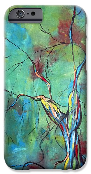 Tree Roots iPhone Cases - Tree Of Winding Color iPhone Case by Ruth Palmer