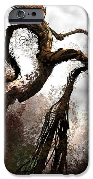 Concept Digital Art iPhone Cases - Treeman iPhone Case by Alex Ruiz