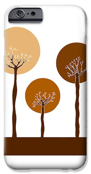 Autumn Drawings iPhone Cases - Trees iPhone Case by Frank Tschakert