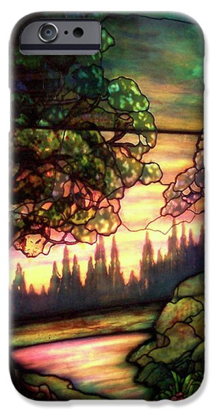 Building Glass iPhone Cases - Trees Stained Glass Window iPhone Case by Thomas Woolworth