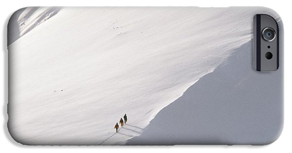 Snowy Day iPhone Cases - Trekking Up Snowy Mountain iPhone Case by Axiom Photographic