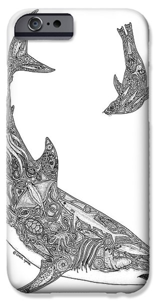 Shark Drawings iPhone Cases - Tribal Great White and Sea Lion iPhone Case by Carol Lynne