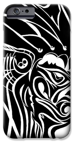 Basic Drawings iPhone Cases - Tribal Leader iPhone Case by Jack Norton