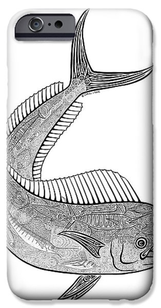 Creative Drawings iPhone Cases - Tribal Mahi  iPhone Case by Carol Lynne