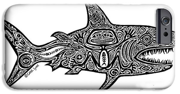 Shark Drawings iPhone Cases - Tribal Shark iPhone Case by Carol Lynne