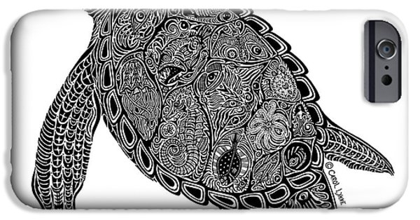 Creative Drawings iPhone Cases - Tribal Turtle I iPhone Case by Carol Lynne