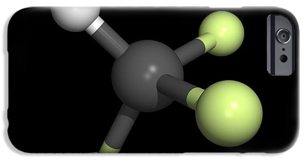 Pollutant iPhone Cases - Trifluoromethane Molecule iPhone Case by Friedrich Saurer