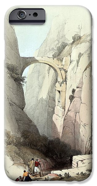 Triumphal arch across the ravine leading to Petra iPhone Case by Munir Alawi