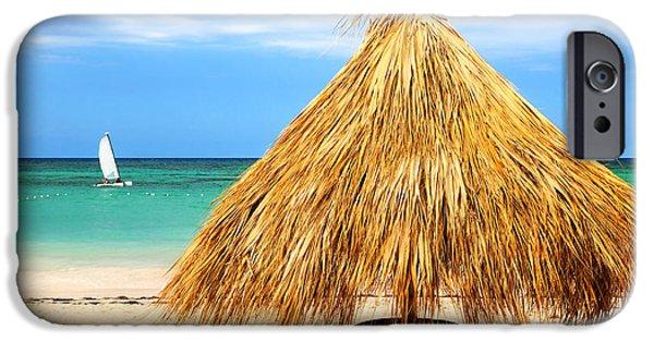 Umbrella iPhone Cases - Tropical beach iPhone Case by Elena Elisseeva