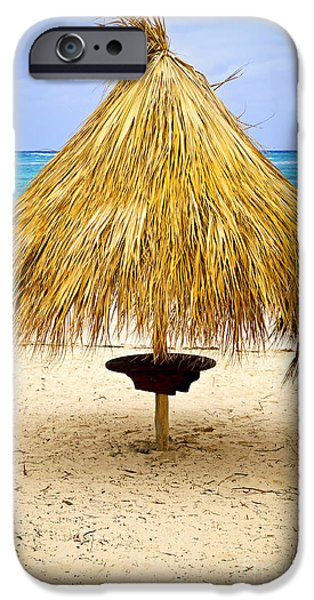 Escape iPhone Cases - Tropical beach umbrella iPhone Case by Elena Elisseeva
