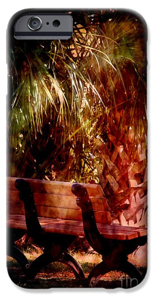 Park Scene iPhone Cases - Tropical Bench iPhone Case by Susanne Van Hulst