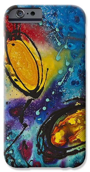 Abstracts iPhone Cases - Tropical Flower Fish iPhone Case by Sharon Cummings