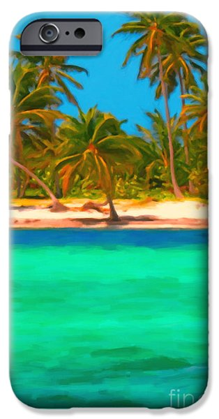 Tropical Island 5 - Painterly iPhone Case by Wingsdomain Art and Photography