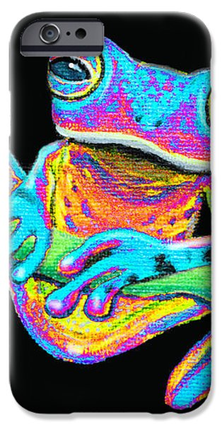 Tropical Rainbow frog on a vine iPhone Case by Nick Gustafson