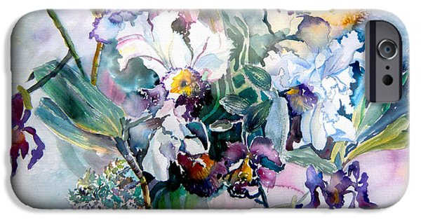 Plant Mixed Media iPhone Cases - Tropical White Orchids iPhone Case by Mindy Newman
