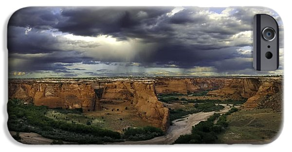 Chelly iPhone Cases - Tsegi Overlook Pano iPhone Case by Paul Basile