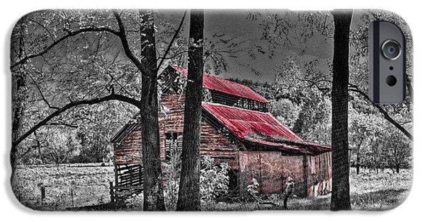 Red Roofed Barn iPhone Cases - Tucked In iPhone Case by Debra and Dave Vanderlaan