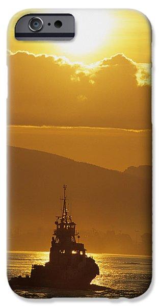Burrard Inlet iPhone Cases - Tugboat At Sunrise, Burrard Inlet iPhone Case by Ron Watts