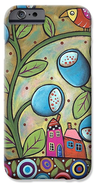 Landscape Greeting Cards iPhone Cases - Tulip Town iPhone Case by Karla Gerard