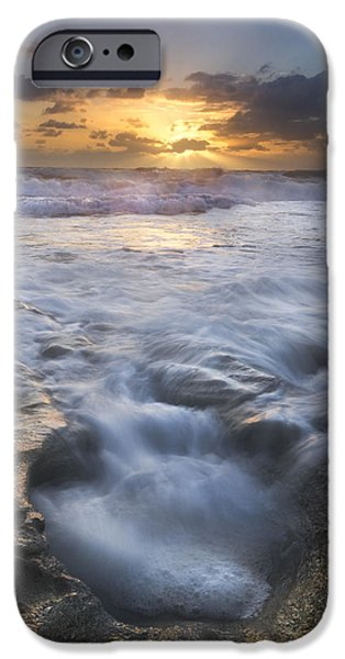 Dave iPhone Cases - Tumbling Surf iPhone Case by Debra and Dave Vanderlaan