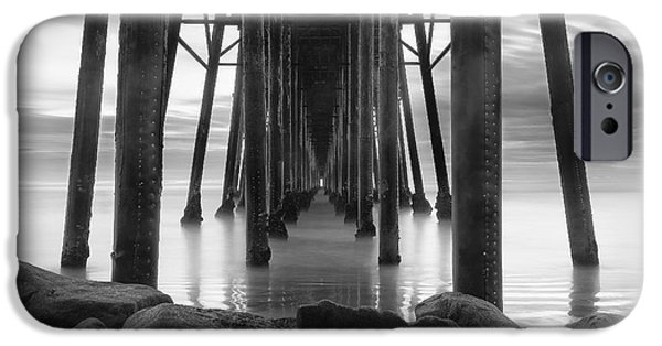 Clouds iPhone Cases - Tunnel of Light - Black and White iPhone Case by Larry Marshall