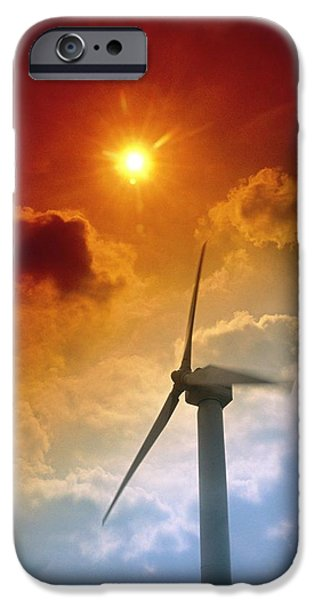 Energy Industry iPhone Cases - Turbine At Delabole Wind Farm, Cornwall, Uk iPhone Case by Tony Craddock