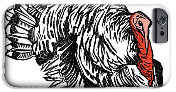 Meleagris Gallopavo iPhone Cases - Turkey, Woodcut iPhone Case by Gary Hincks