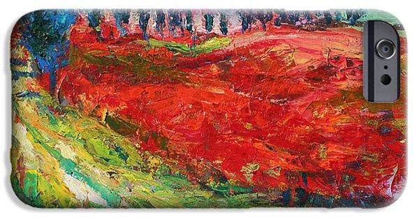 Tree Art Print iPhone Cases - Tuscany italy landscape poppy field iPhone Case by Svetlana Novikova