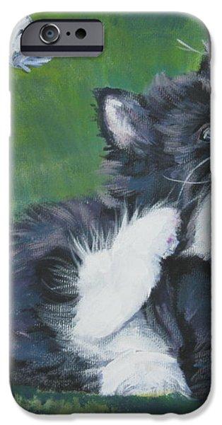 Tuxedo Kitten iPhone Case by Lee Ann Shepard