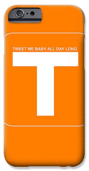 Internet iPhone Cases - Tweet me baby all night long Orange Poster iPhone Case by Naxart Studio