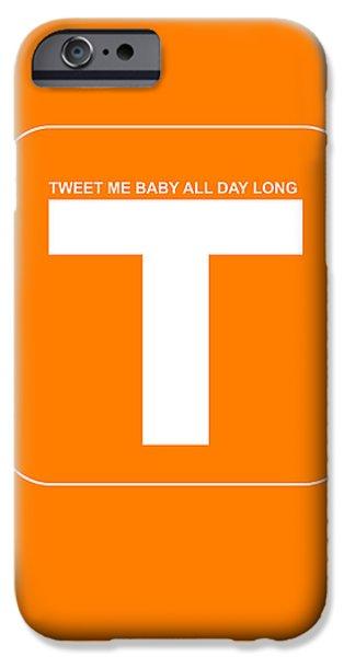 Old Digital Art iPhone Cases - Tweet me baby all night long Orange Poster iPhone Case by Naxart Studio