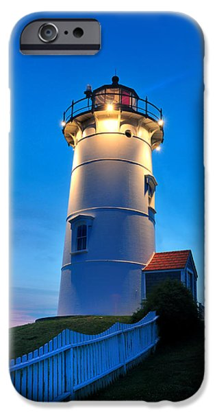 New England Lighthouse iPhone Cases - Twilight at Nobska Point iPhone Case by Thomas Schoeller