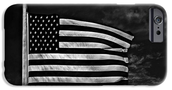 Stars And Stripes Mixed Media iPhone Cases - Twilights Last Gleaming BW iPhone Case by David Dehner