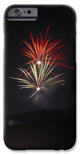 Fireworks iPhone Cases - Twin Fireworks iPhone Case by Sumit Mehndiratta