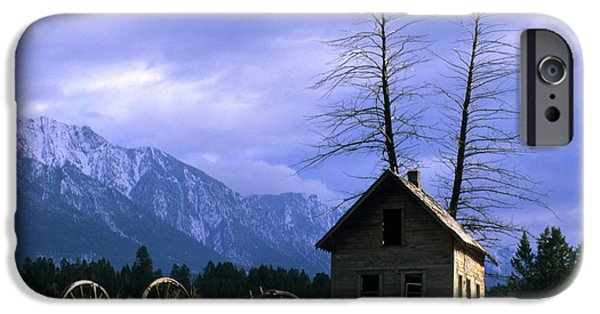 Pioneer Homes iPhone Cases - Twin Tree Cabin iPhone Case by Bob Christopher