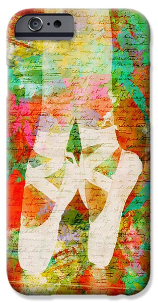 Ballet Digital Art iPhone Cases - Twinkle Toes iPhone Case by Nikki Marie Smith
