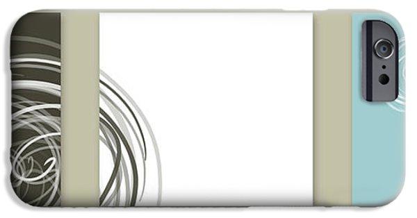 Concept Digital iPhone Cases - Twirl blue iPhone Case by Nomi Elboim