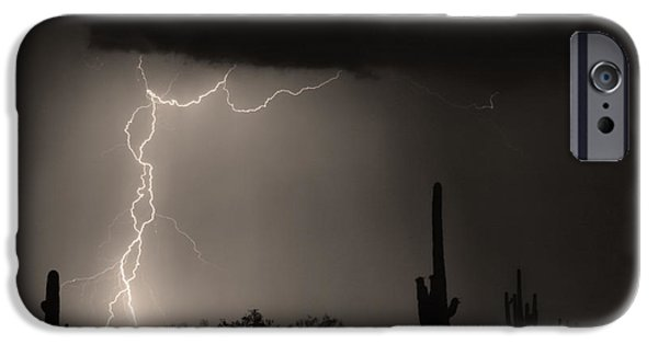 Lightning Images iPhone Cases - Twisted Storm - Sepia Print iPhone Case by James BO  Insogna