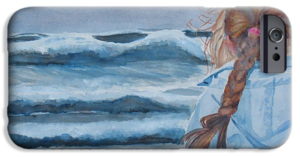 Storms Paintings iPhone Cases - Twixt Wind and Water II iPhone Case by Jenny Armitage