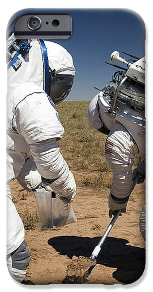 Two Astronauts Collect Soil Samples iPhone Case by Stocktrek Images