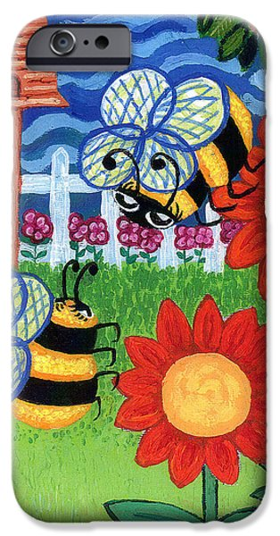 Genevieve Esson iPhone Cases - Two Bees With Red Flowers iPhone Case by Genevieve Esson