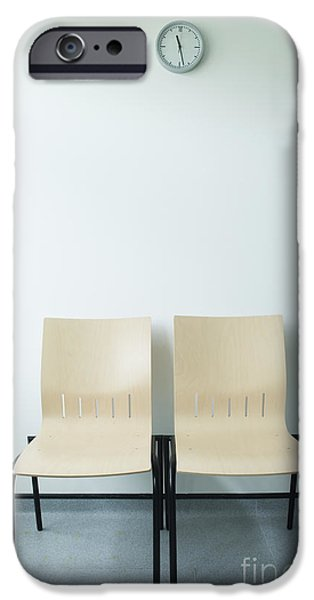 2 Seat iPhone Cases - Two Chairs And A Clock iPhone Case by Iain Sarjeant