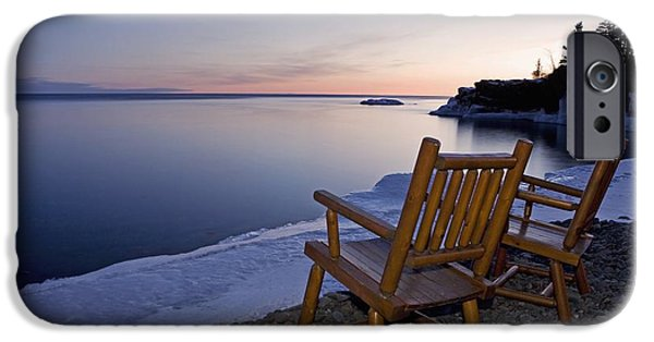 Empty Chairs iPhone Cases - Two Chairs At Waters Edge Looking Out iPhone Case by Susan Dykstra