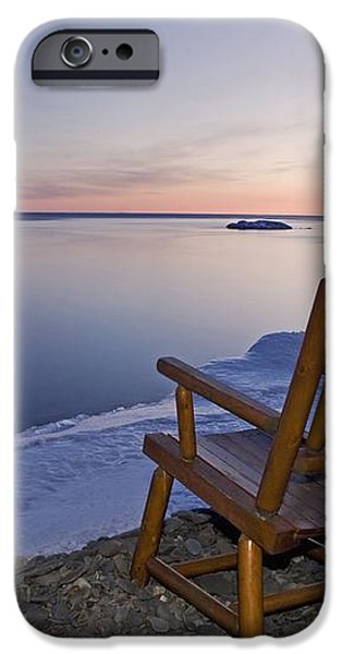 Two Chairs At Waters Edge Looking Out iPhone Case by Susan Dykstra