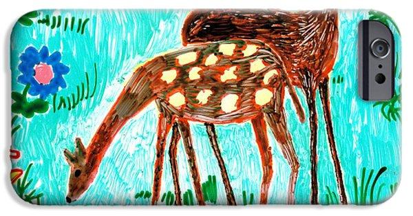 Sue Burgess Ceramics iPhone Cases - Two deer iPhone Case by Sushila Burgess