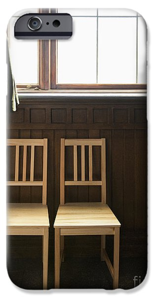 2 Seat iPhone Cases - Two Empty Chairs Beneath a Window iPhone Case by Thom Gourley/Flatbread Images, LLC